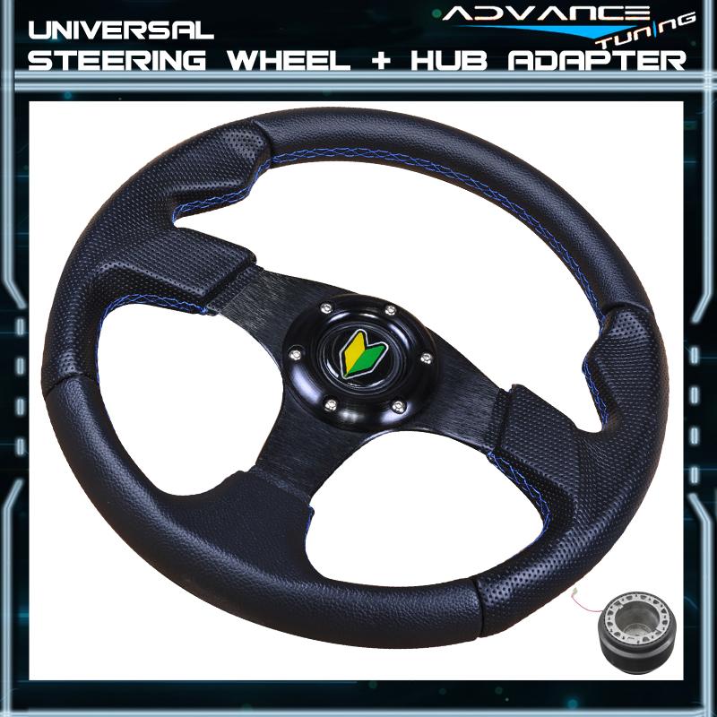 320MM Black PVC Leather Blue Stitch 6-Bolt Steering Wheel