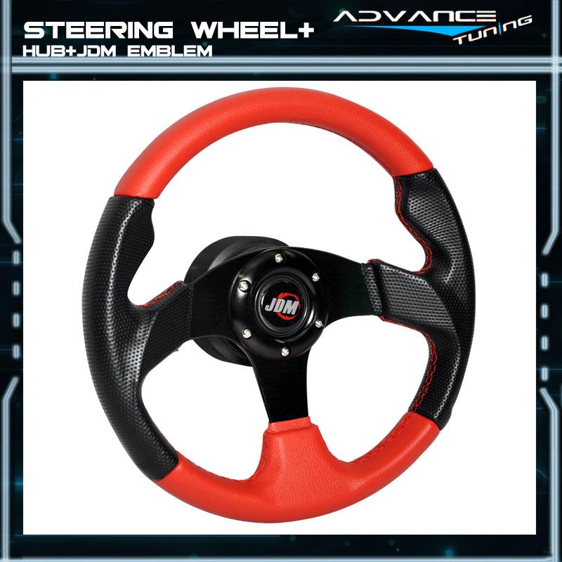 320MM Red PVC Leather Black Caron Look Steering Wheel